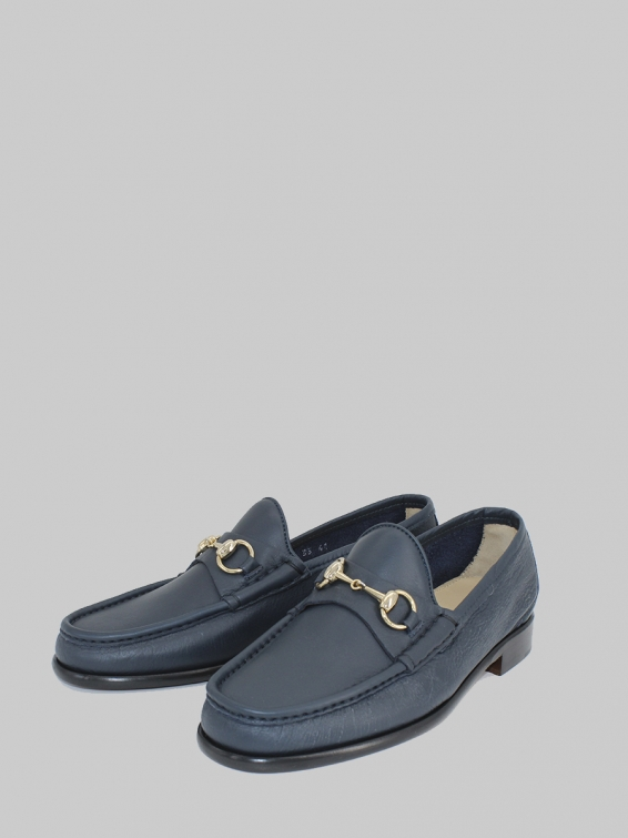 Loafers 33 Nappa montana leather blue navy color