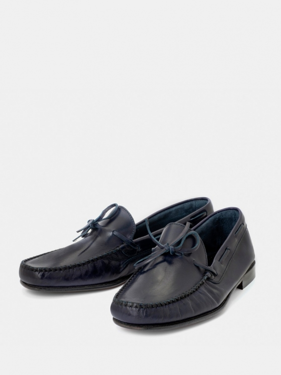 Loafers Alonso navy blue with bow
