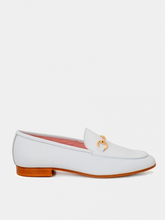 Loafers Genova white color coy leather
