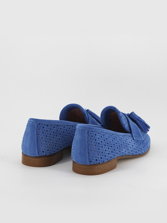 Suede leather loafers Tivoli in blue color