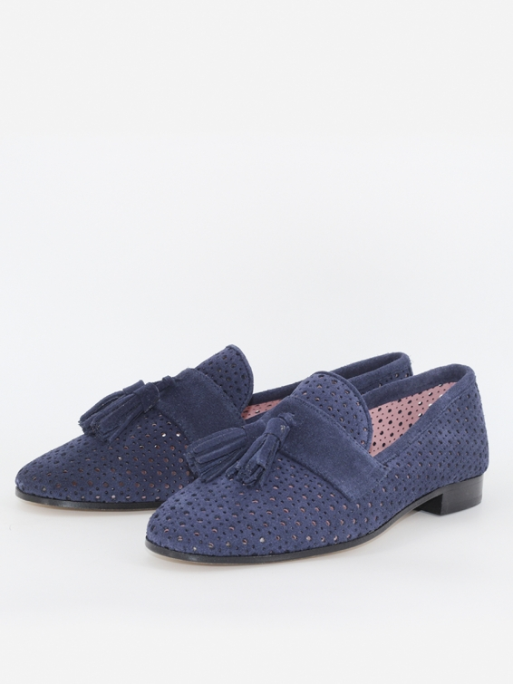 Suede leather loafers Tivoli in navy color