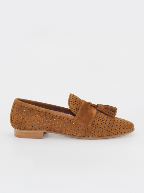 Suede leather loafers Tivoli in light brown color